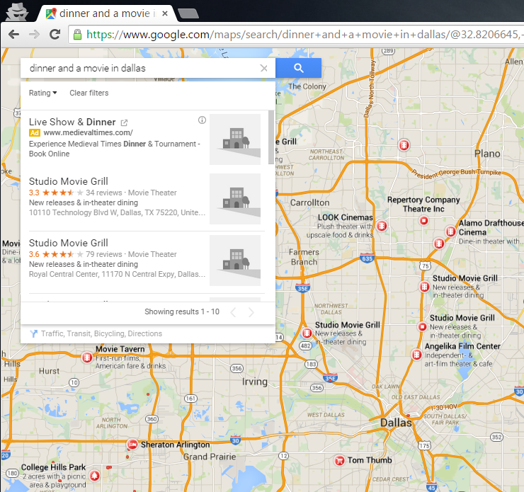 Google serves dinner and a movie in local maps search