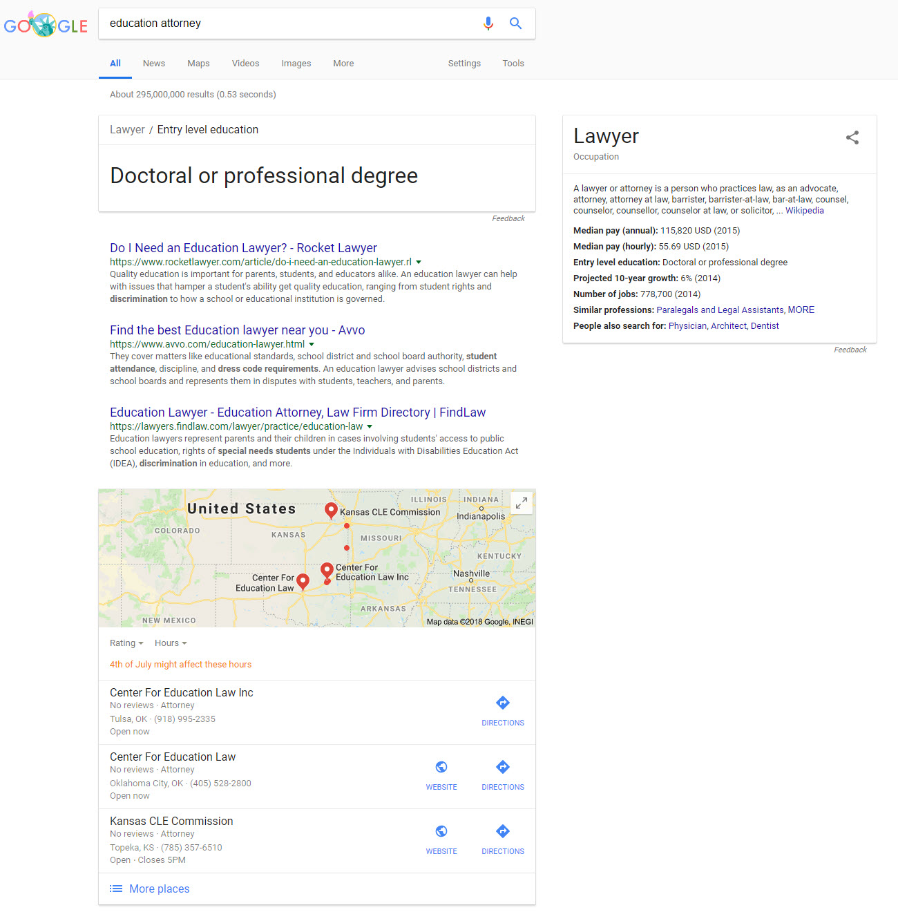 Direct Answer, Knowledge Panel, & Local Pack SERP