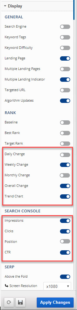 Featured Snippet Report Settings