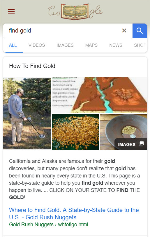 Find Gold Featured Snippet