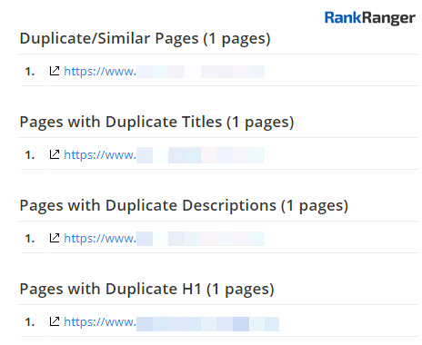 Site Audit Duplicate Page List