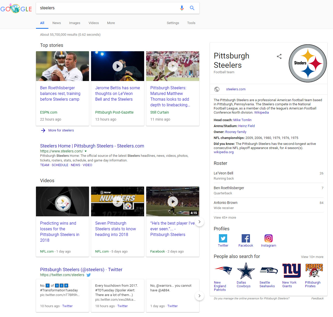 Steelers Off-Season SERP