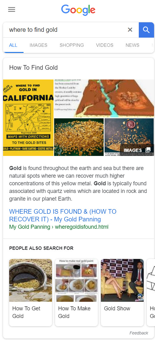 Where to Find Gold Featured Snippet