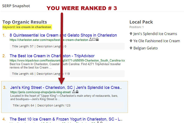 serp snapshot before seo