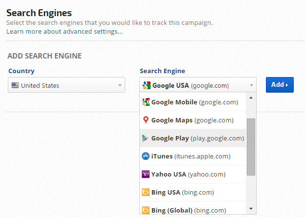 Google Play Store seach engine for app tracking