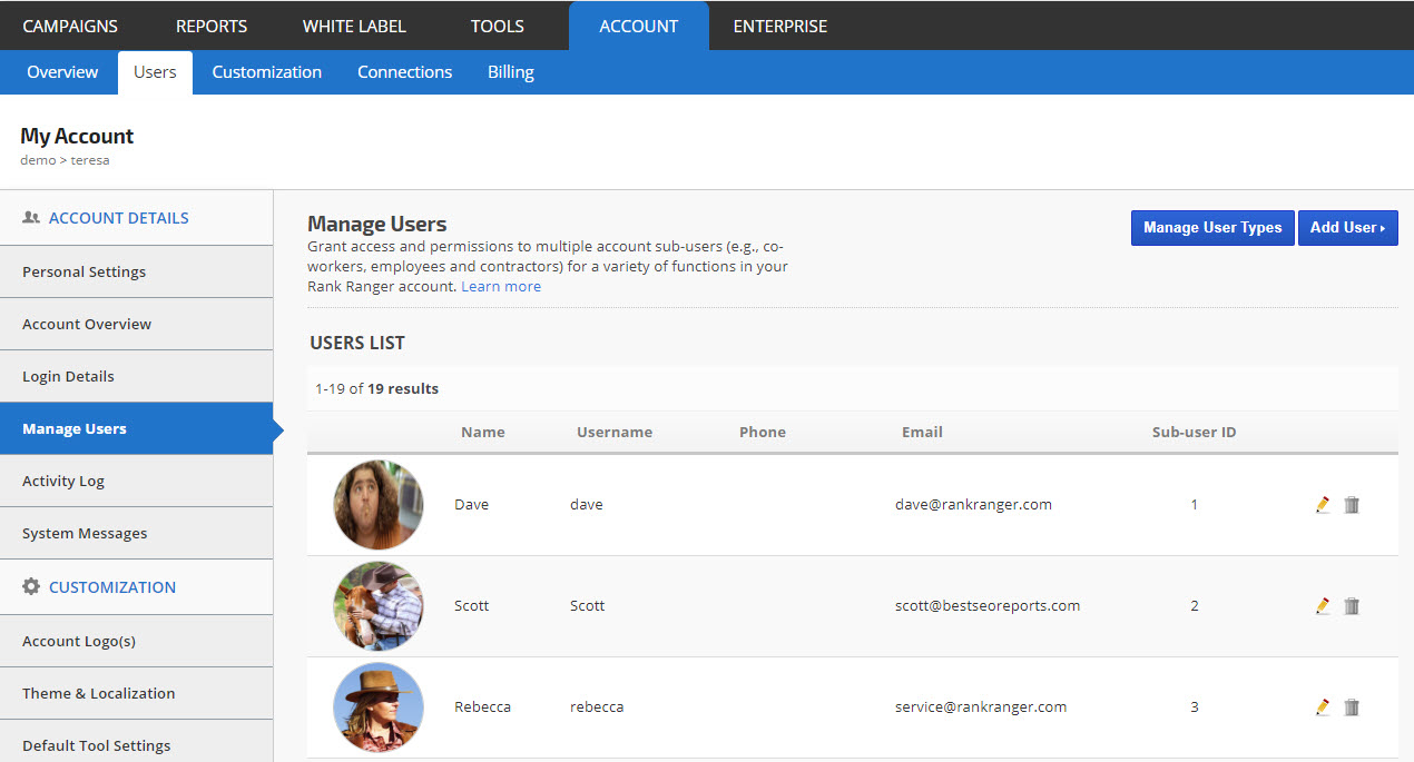 access the manage users screen