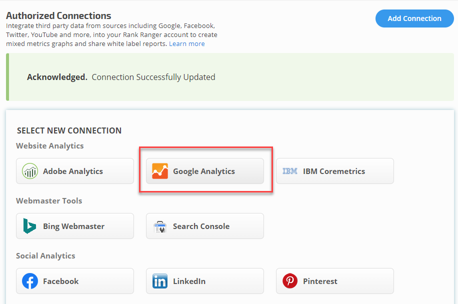 Authorize Google Analytics Connection