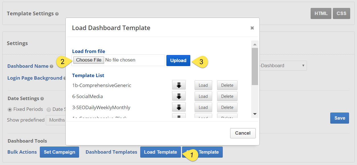 install a dashboard template