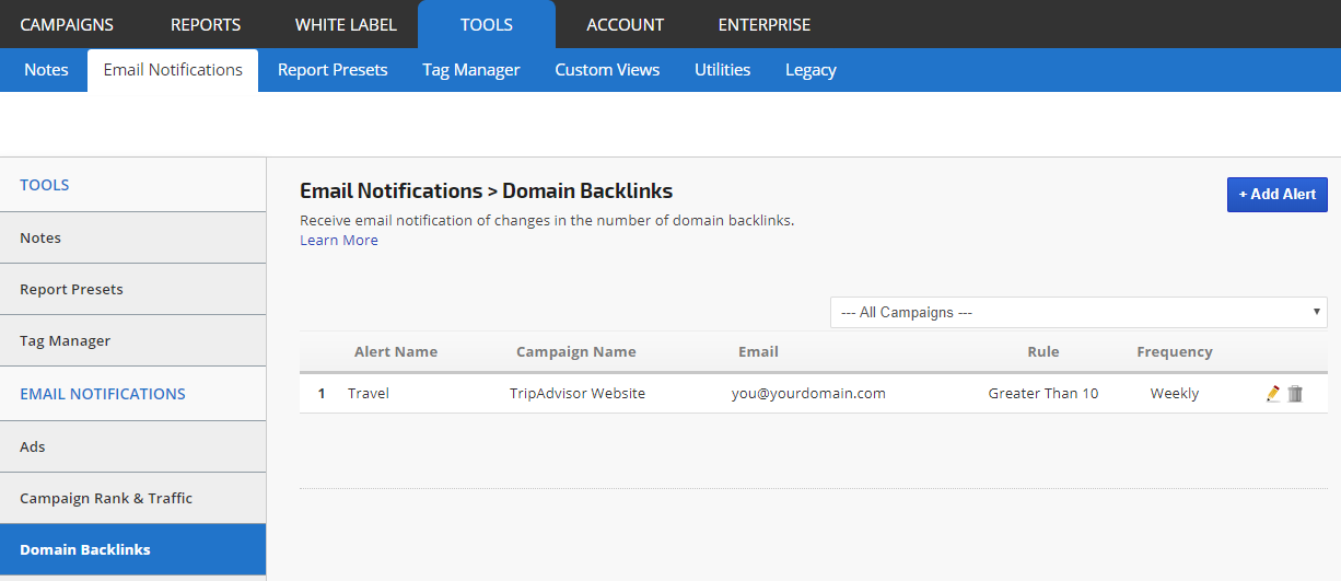 Domain Backlinks Alert Settings