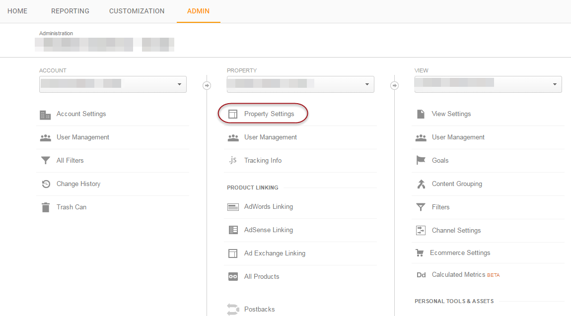 Access Google Analytics Property Settings