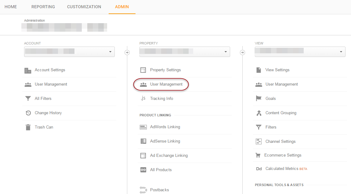 access Google Analytics Admin User management