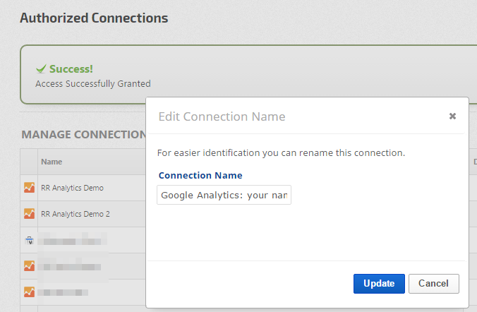 Edit Google Analytics Connection Name