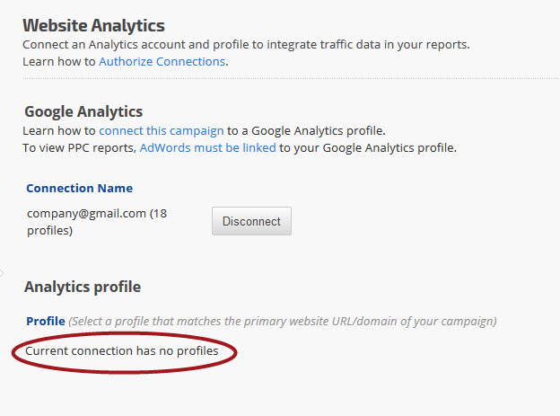 Google Analytics No Profiles