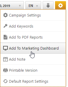 Add to web marketing dashboard