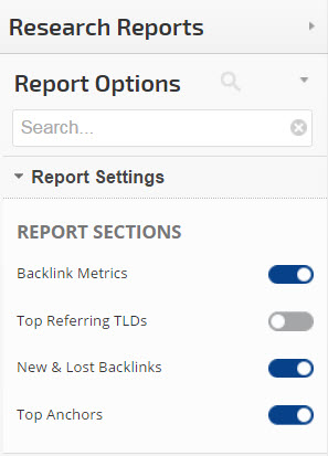 backlinks site explorer report options