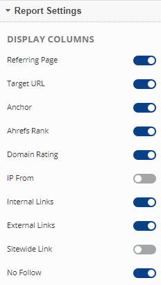 backlinks report options