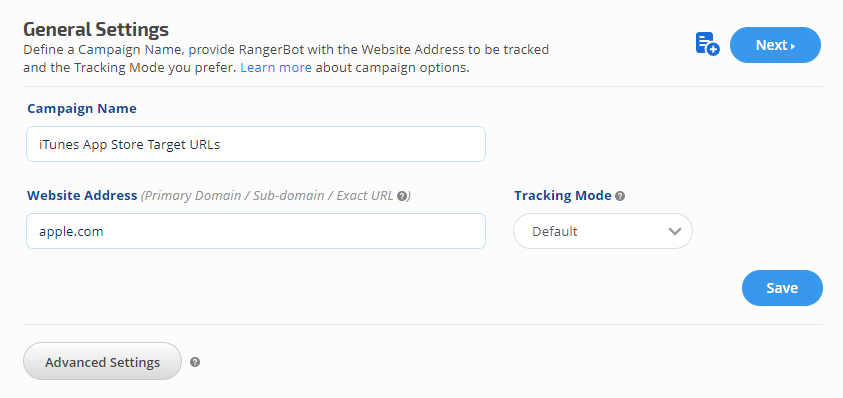 Apple iTunes ASO tracking campaign settings
