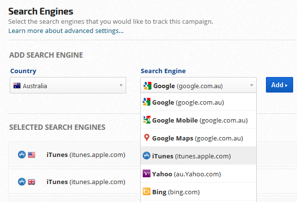 ASO iTunes App tracking search engine settings