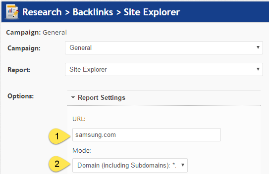 Backlinks Site Explorer URL settings