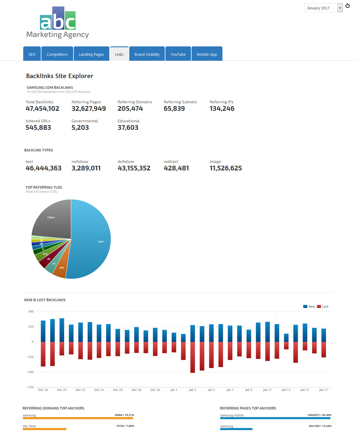 Example of Backlinks Site Explorer report in web marketing dashboard