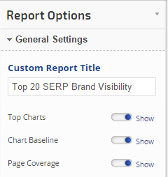 Brand Visibility Report General Settings