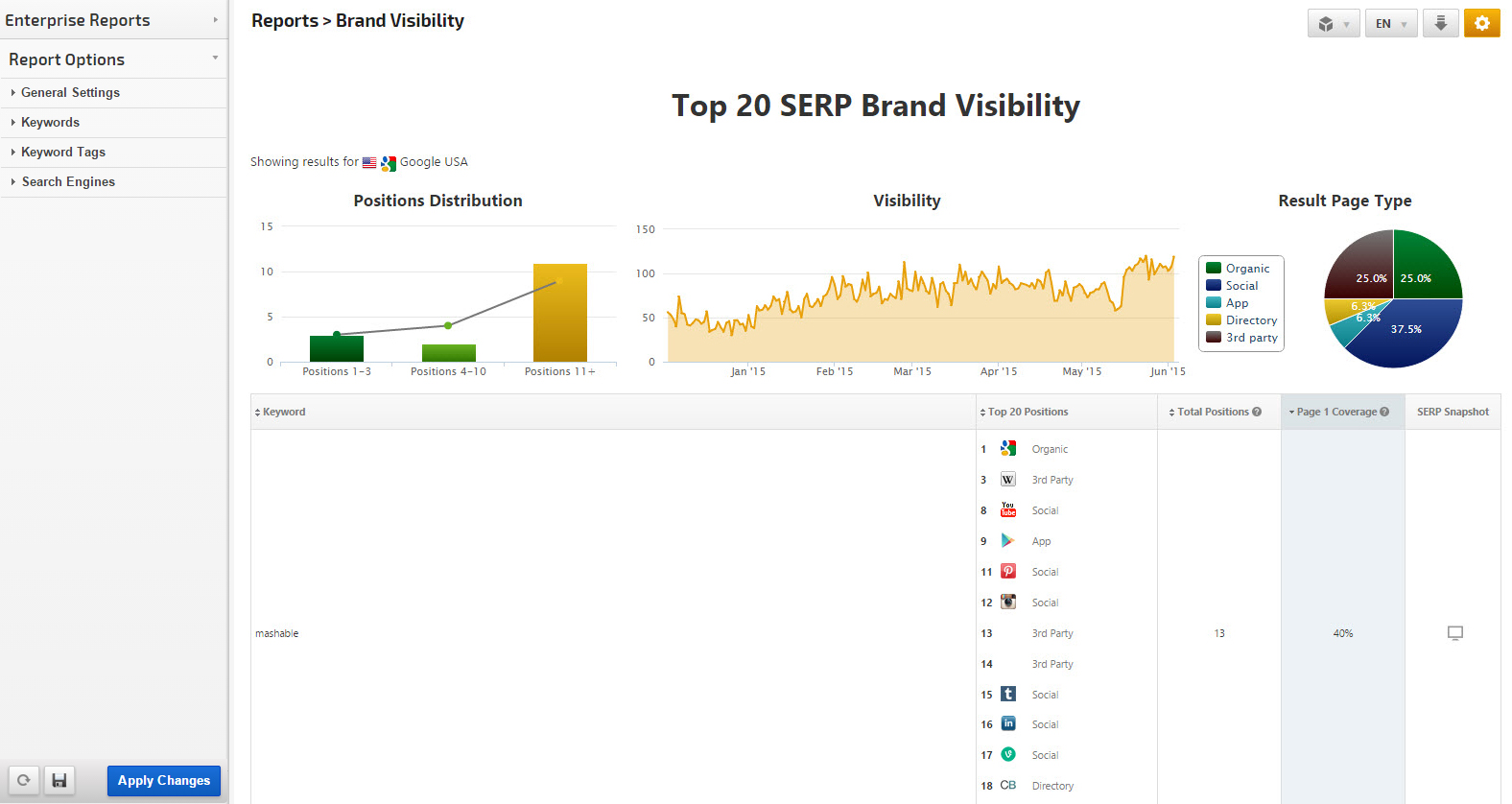 Brand Visibility Report Top 20 SERP Positions