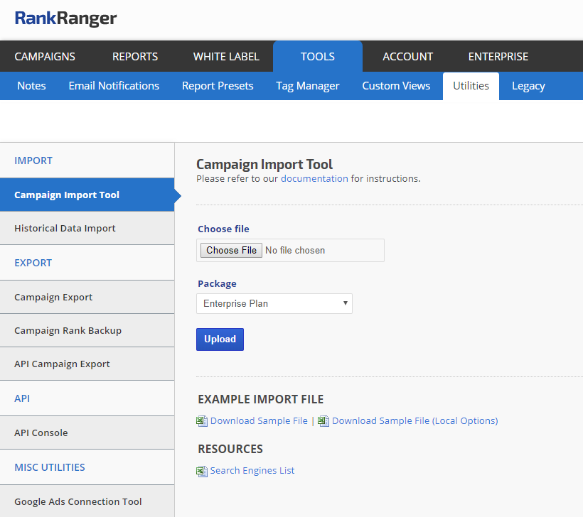 Rank Campaign Import tool