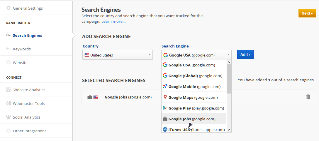 track rank on Google Jobs search engine