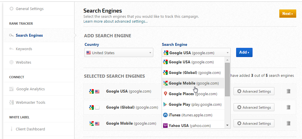 Google Mobile search engine settings