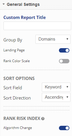 select Group by, show rank color scale, sort, algorithm change settings