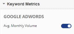 Show or Hide Google AdWords volume