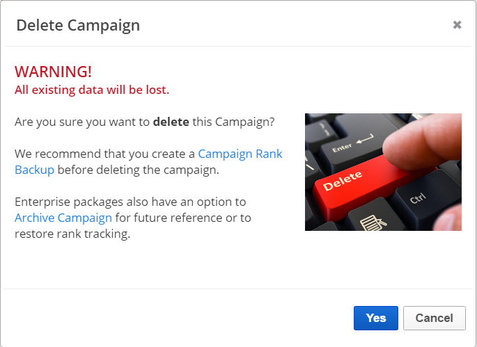campaign deletion warning