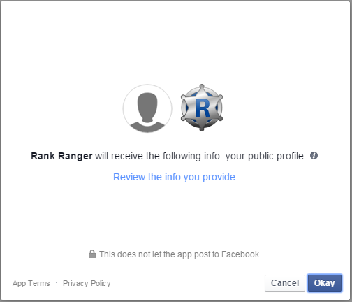 Authorize Rank Ranger Facebook App