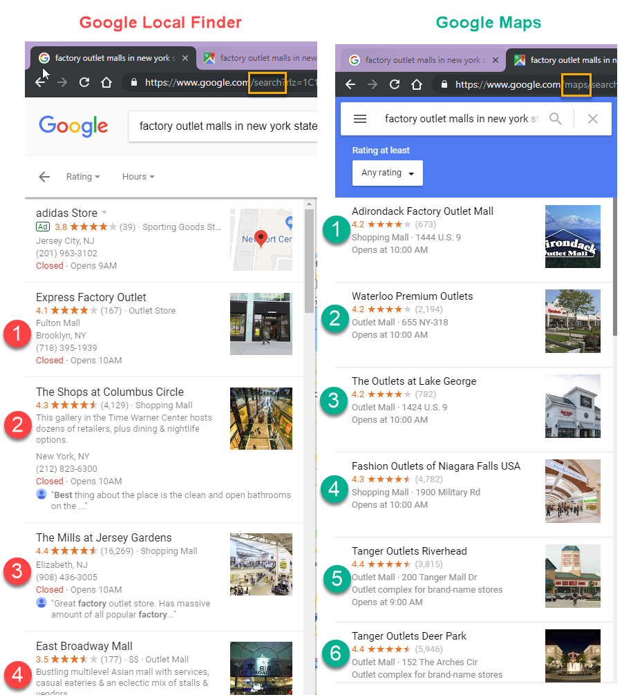 Google local finder vs maps