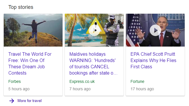 Example of Google SERP News Results