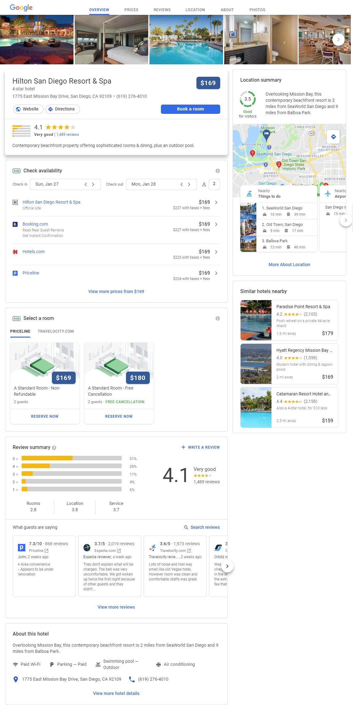 Google My Business Hotel Listing
