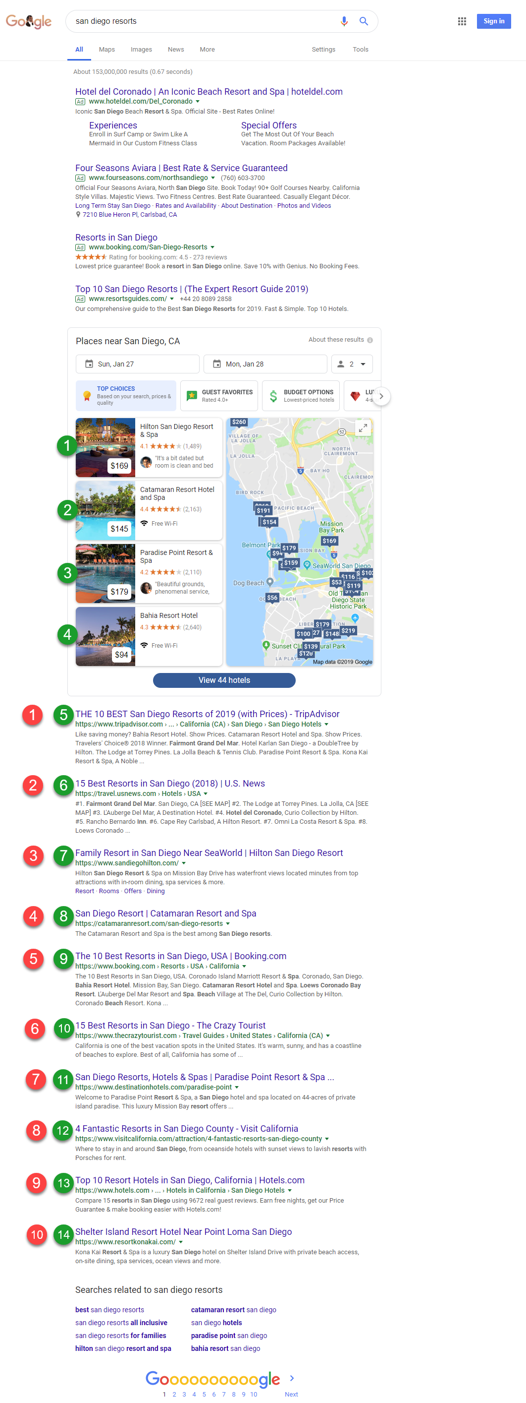 Google Hotel Pack Results included