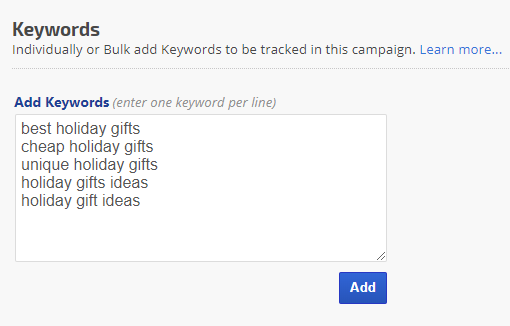 add keywords to campaign