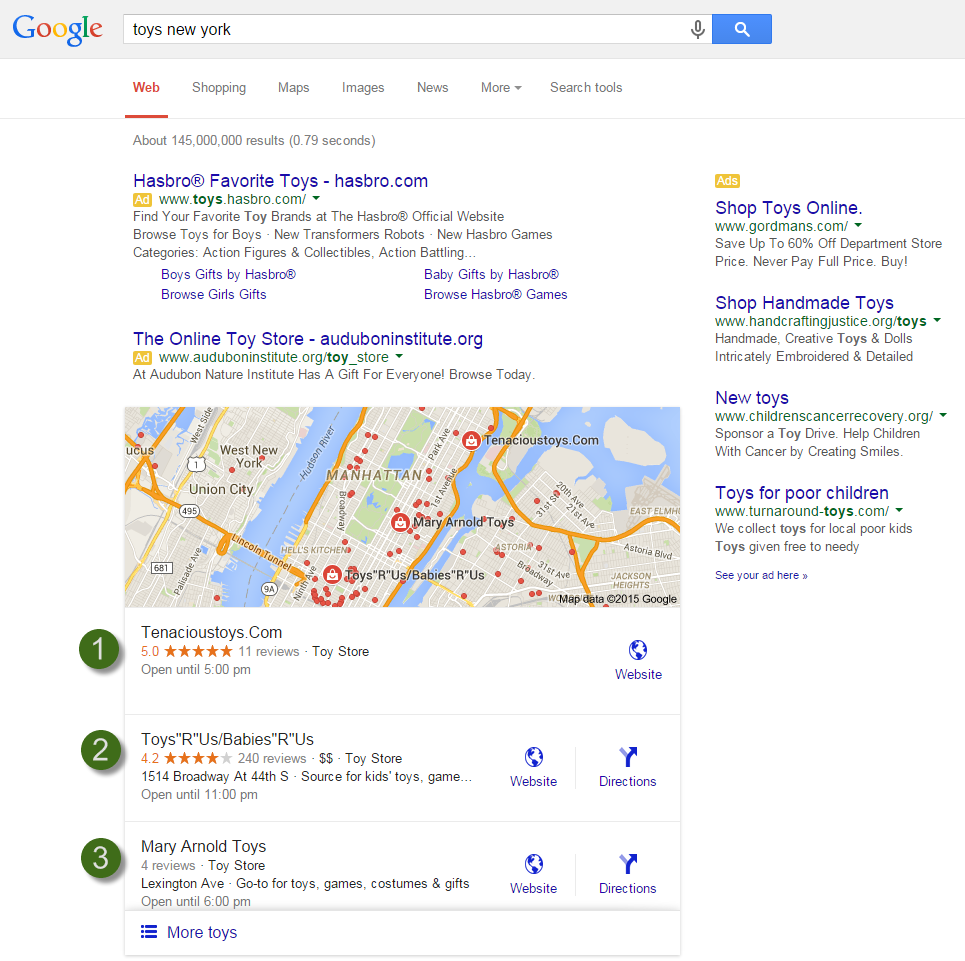 Google Local Pack Results included