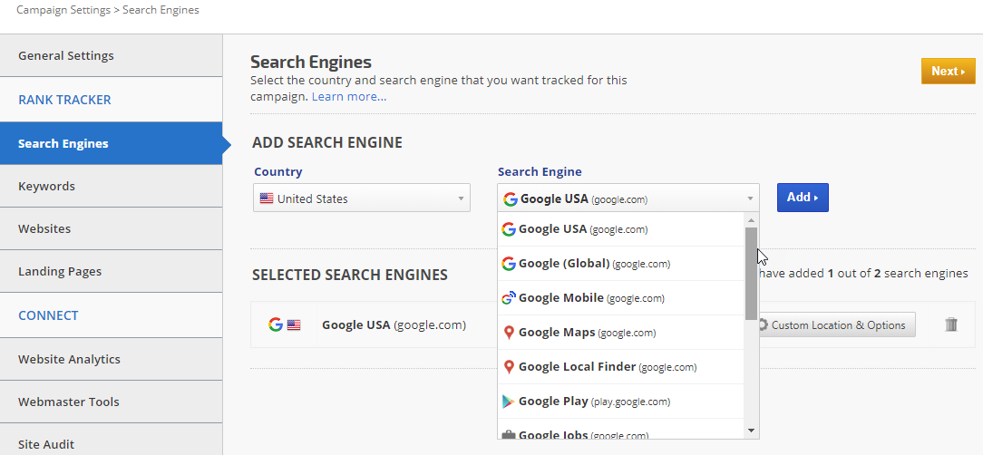 Campaign Search Engine Settings
