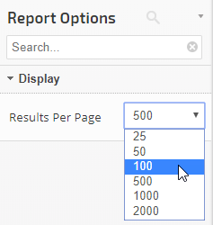 report options filters