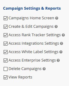 User access to campaign settings and reports