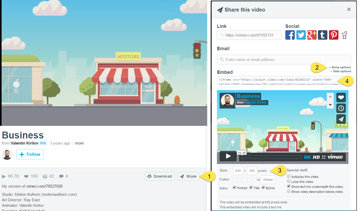 embed a Vimeo video in marketing dashboard