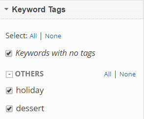Show, hide and select Keyword Tags