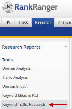 Navigate to Keyword Traffic Research Report