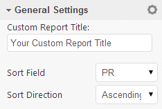 Enter Title and select sort fields