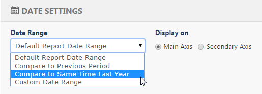 Select Date Settings for Comparative Time Periods