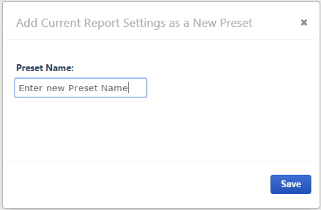 Enter a Preset Name