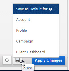 Save Report Options as Default Settings